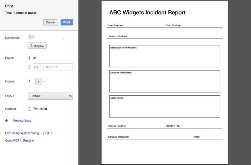 Printable amd Customizable Business Forms