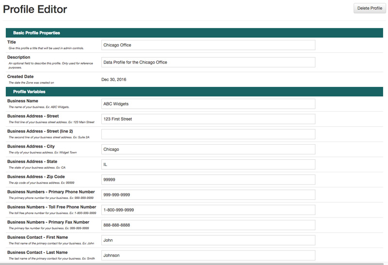 Saved Data Profiles for Customizing Business Forms
